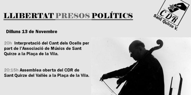 Dilluns 13 de novembre a les 20:00 h. concert per reclamar la llibertat dels presos polítics